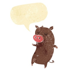 funny cartoon pig with speech bubble vector image vector image