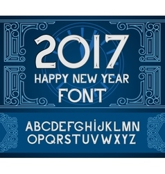 Happy new year 2017 hand-lettering text on blue vector