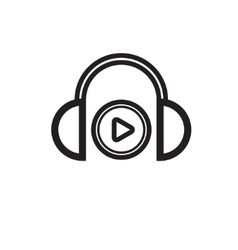 Headphones black silhouette vector