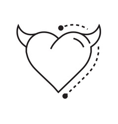 Line icon style heart devil vector