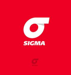 Logo sigma flat emblem grecian letter vector