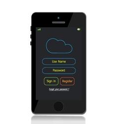 Mobile phone cloud LOGIN vector image