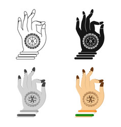 Mudra icon in cartoon style isolated on white vector