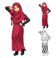 Muslim girl fashion wearing red veil or scarf vector