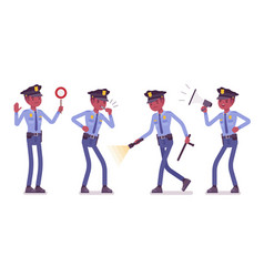 policeman with signals and light vector image vector image
