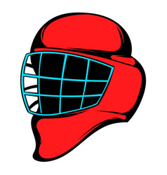 red hockey helmet with cage icon icon cartoon vector image