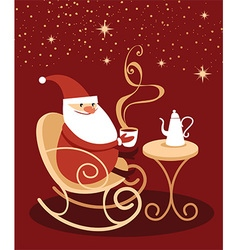 Santa claus drinking hot chocolate vector