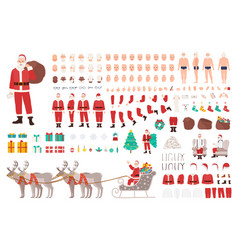 santa clause constructor or diy kit collection of vector image vector image