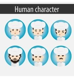 Set men european character chef vector