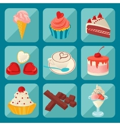set of pictures of coffee and sweets vector image