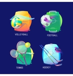 Sport logo of hockey tennis soccer volleyball vector