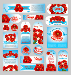 Spring gift tag sale label banner with flowers vector