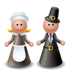 Thanksgiving pilgrim characters vector