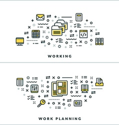 Thin Line Working and Work Planning Concepts for vector image vector image