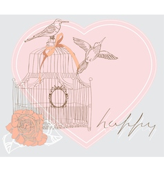 Valentines card with cage vector image vector image