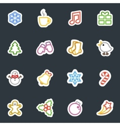 Winter contour style stickers icon set vector