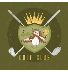 royal golf club grunge coat of arms design vector image