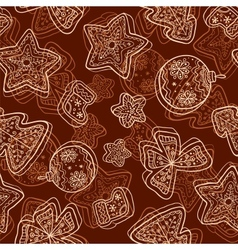 Christmas dark chocolate seamless pattern vector image