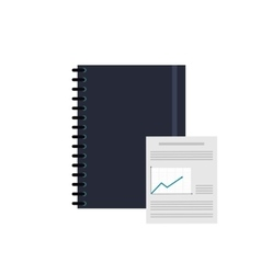 Notebook and graph chart icon vector