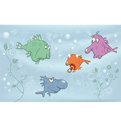 Cheerful small fishes in lake vector
