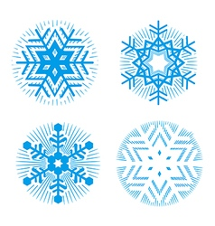 Set of blue decorative snowflakes vector image