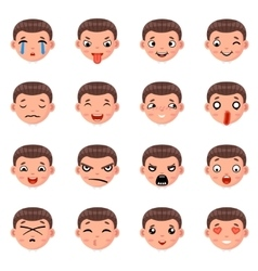 Male boy avatar smile emoticon icons set isolated vector