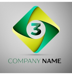 Three number colorful logo in the rhombus template vector image