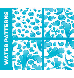Water drops and splashes seamless patterns vector