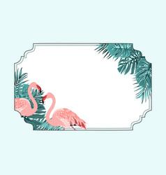 exotic flamingo tropical horizonal border frame vector image