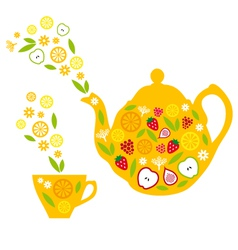 tea pot and cup with fruits vector image
