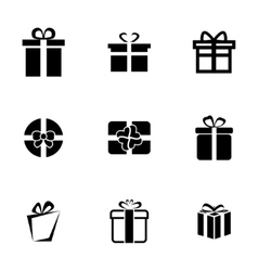 Black gift icons set vector