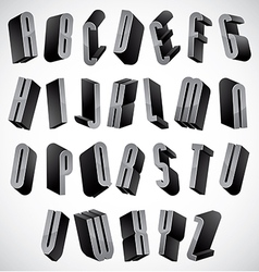 3d font thin and tall dimensional letters set vector
