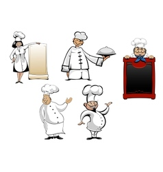 Cartoon chefs and cooks set vector image