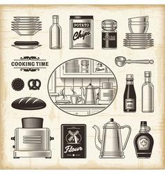 Vintage kitchen set vector image