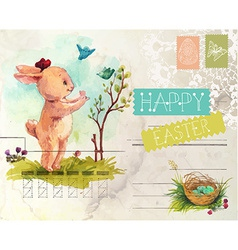 Watercolor vintage style easter card vector