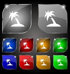 Palm tree travel trip icon sign set of ten vector
