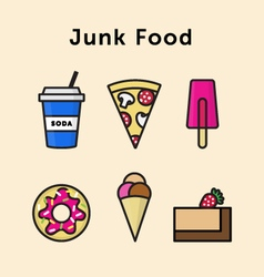 Junk food icon set vector