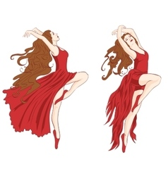 Girls dancing contemporary dance vector
