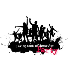Ink splash party crowd silhouettes vector