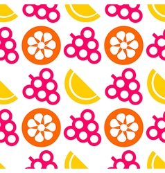 Pattern with colorful closeup fruits berries citru vector