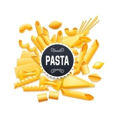 Italian traditional dry pasta realistic pictogram vector