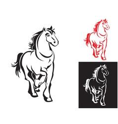 Horses on white or black backgrounds vector