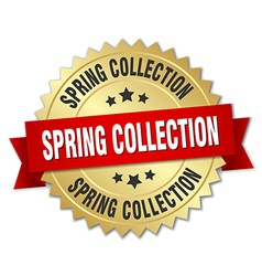 Spring collection 3d gold badge with red ribbon vector