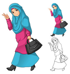 Muslim girl fashion wearing green veil or scarf vector