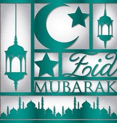 Paper cut out eid mubarak blessed eid card in vector