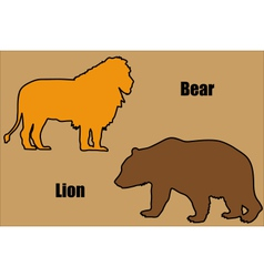 Bear and lion vector image vector image