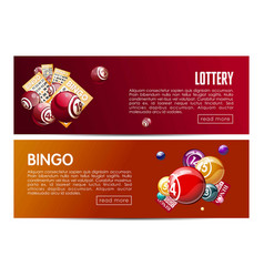 Bingo lotto lottery web banners templates set vector
