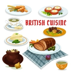 British cuisine dinner menu cartoon icon vector