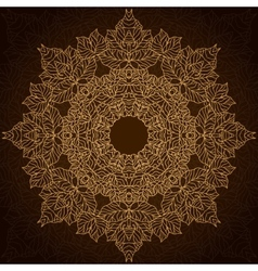 Brown and gold lace circle ornament vector