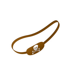 brown eye patch with skull symbol vector image vector image
